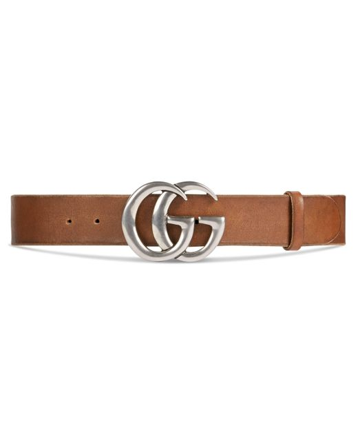 Gucci - Brown Leather Belt With Double G Buckle for Men - Lyst