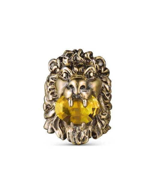 Gucci - Yellow Lion Head Ring With Crystal - Lyst