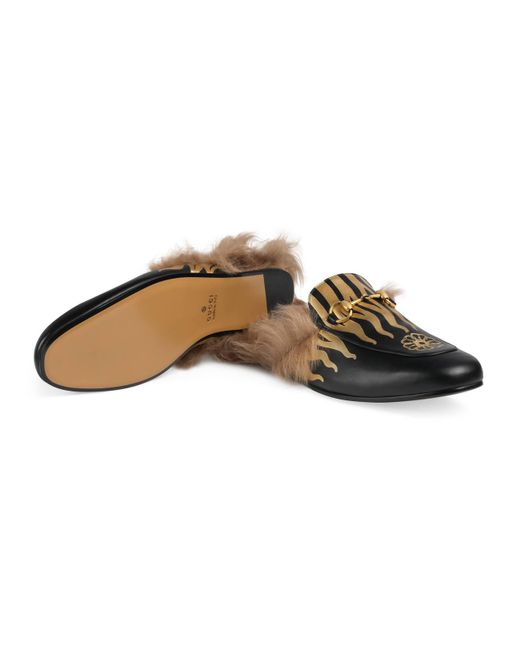 c0846145f534 ... Gucci - Black Princetown Slipper With Flames for Men - Lyst ...