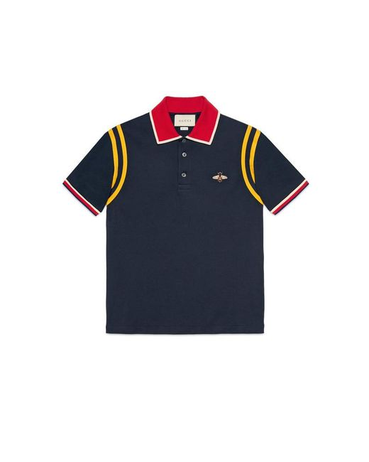 7153dc0d Gucci Cotton Polo With Bee in Blue for Men - Save 39% - Lyst