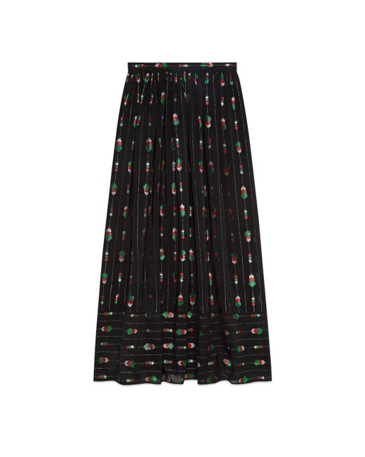 Gucci - Green Maxi Skirt With Fil Coupé - Lyst
