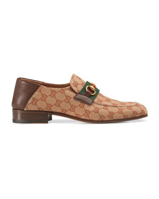 Gucci - Natural Mocasín de Lona con Horsebit y GG for Men - Lyst