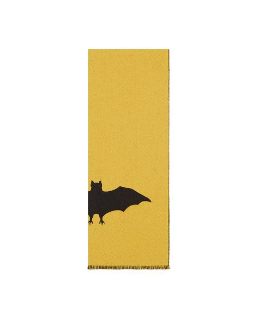 Gucci | Yellow Wool Scarf With Bat Jacquard | Lyst