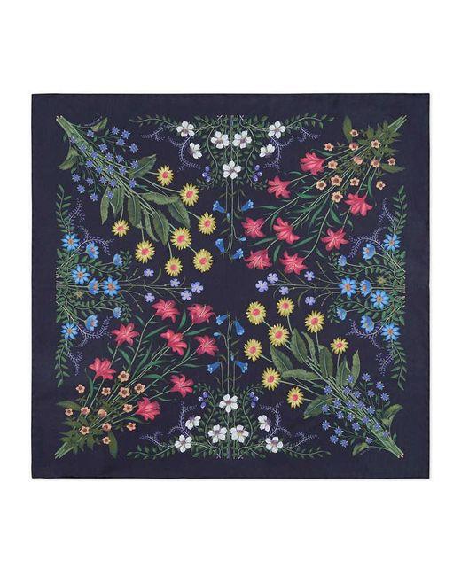 Gucci | Blue New Flora Print Silk Pocket Square | Lyst