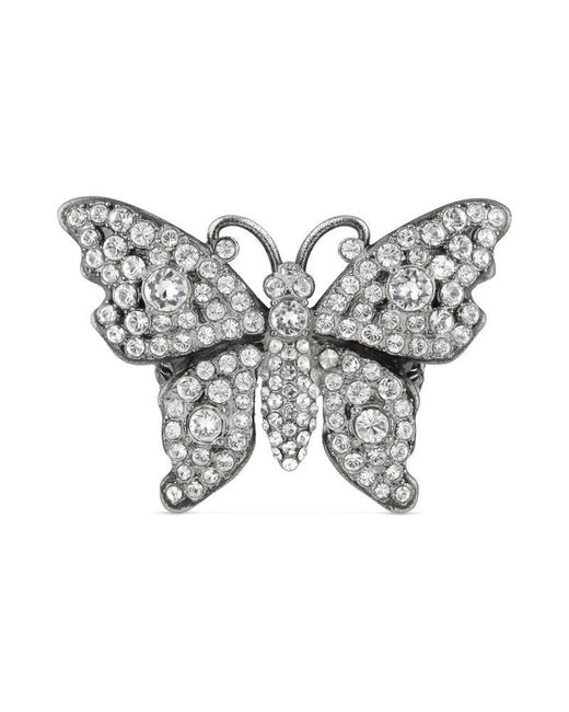 Gucci - Metallic Crystal Studded Butterfly Ring In Metal for Men - Lyst