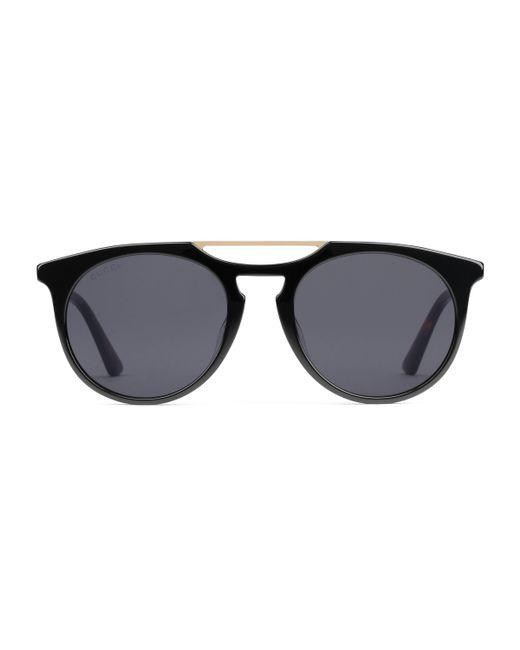 Gucci - Black Gafas de sol redondas de acetato for Men - Lyst