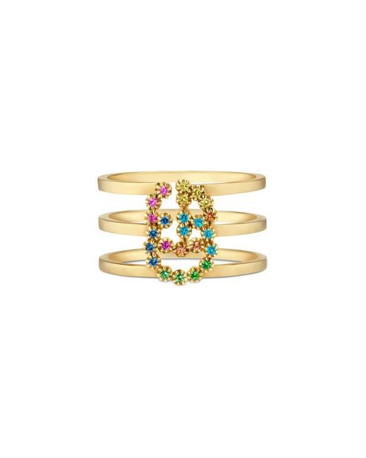 Gucci - Metallic GG Running Ring With Multicolor Stones - Lyst
