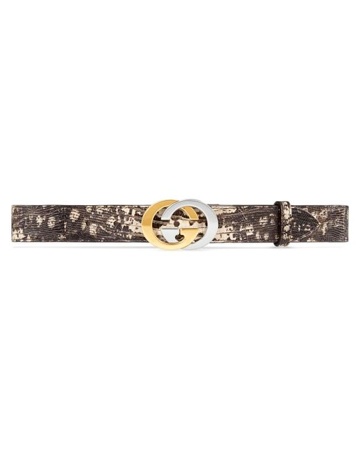 Gucci Natural Lizard Belt With Interlocking G Buckle for men