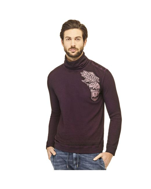 Guess | Purple Sweater With Appliqué On The Front for Men | Lyst