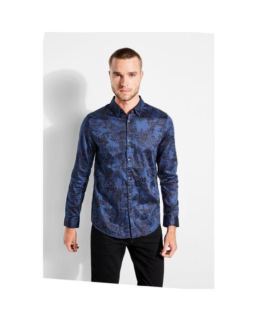Guess - Blue Woodcut Floral-print Shirt for Men - Lyst
