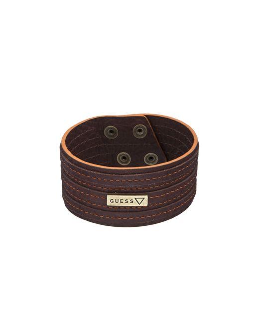 Guess | Brown Orange Stitch Logo Bracelet for Men | Lyst