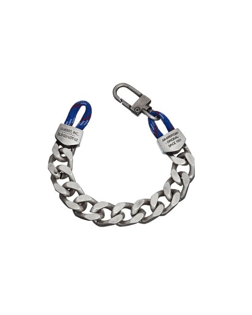 Guess | Metallic Silver Chain And Cord Bracelet for Men | Lyst