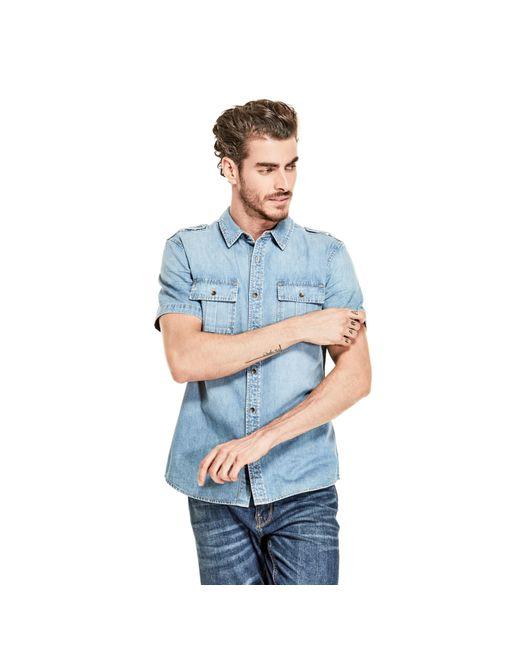Guess - Blue Slim Military Denim Shirt for Men - Lyst