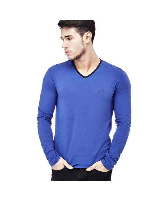 Guess   Blue T-shirt With Trimmed Neckline for Men   Lyst