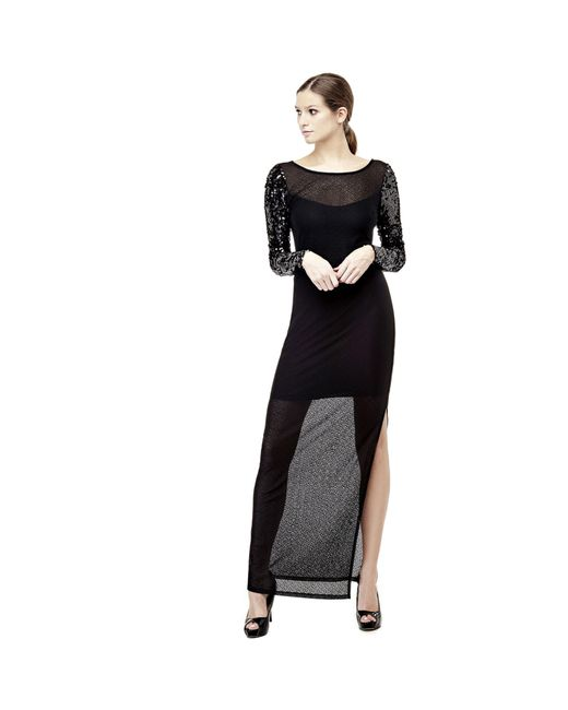 Guess | Black Dress With Sequin Sleeves | Lyst