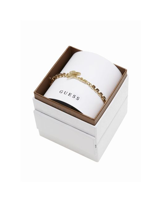 Guess | White My In A Box Logo Smoked Topaz Stones Yellow Gold-plated Bracelet | Lyst
