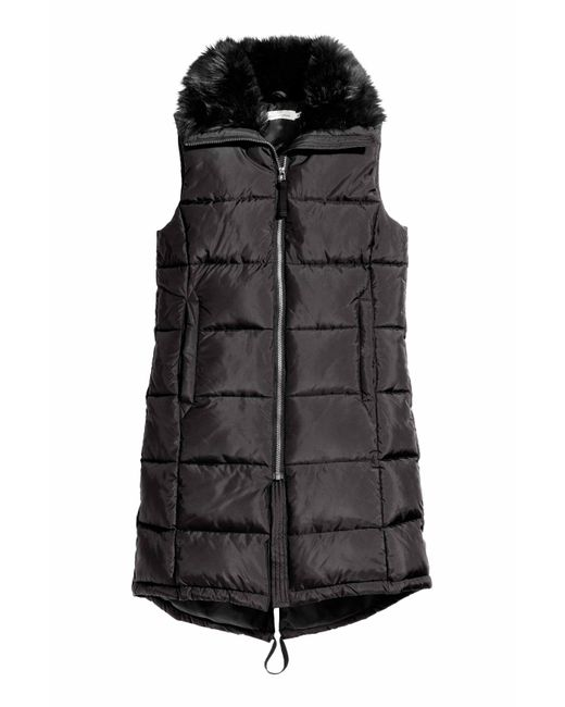 h m padded gilet with faux fur in black lyst. Black Bedroom Furniture Sets. Home Design Ideas