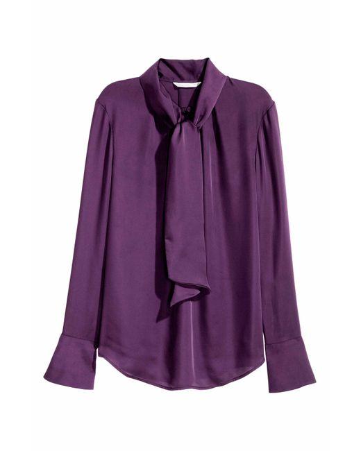 H&M   Purple Tie-neck Blouse   Lyst