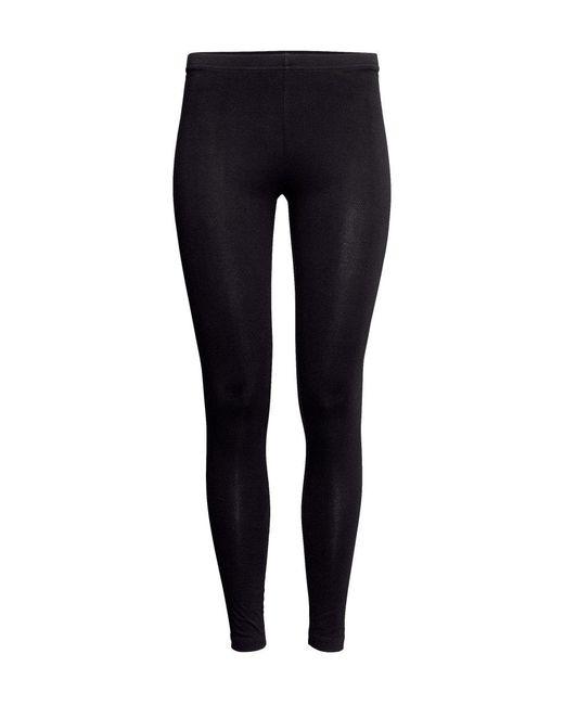 H&M   Black Jersey Leggings   Lyst
