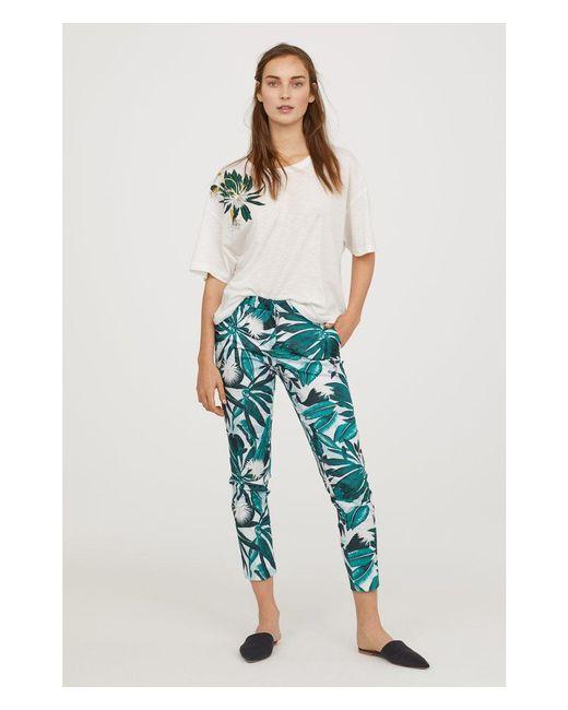 H&M - Multicolor Patterned Cigarette Trousers - Lyst