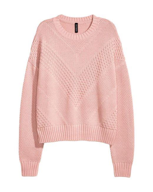 H&M | Pink Textured-knit Jumper | Lyst