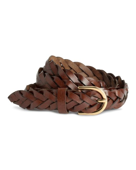 h m braided leather belt in brown brown lyst