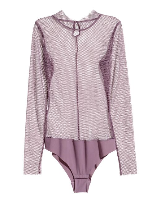 H&M - Purple Long-sleeved Mesh Bodysuit - Lyst