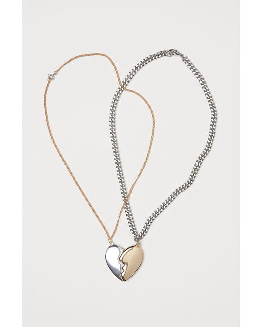 H&M - Metallic 2-pack Necklaces - Lyst