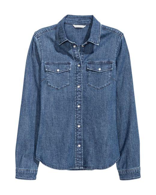 H&M   Blue Fitted Denim Shirt   Lyst