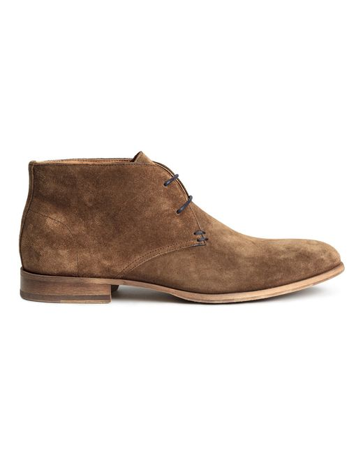 h m suede desert boots in brown for lyst