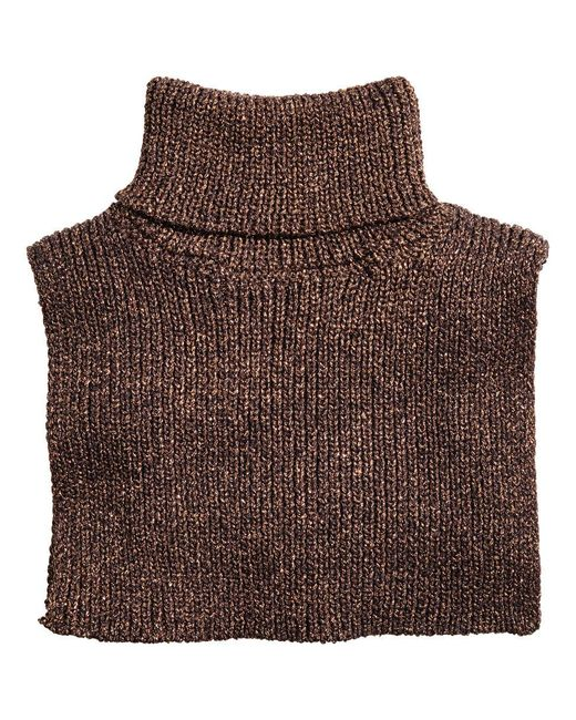 H&M | Brown Glittery Polo-neck Collar | Lyst