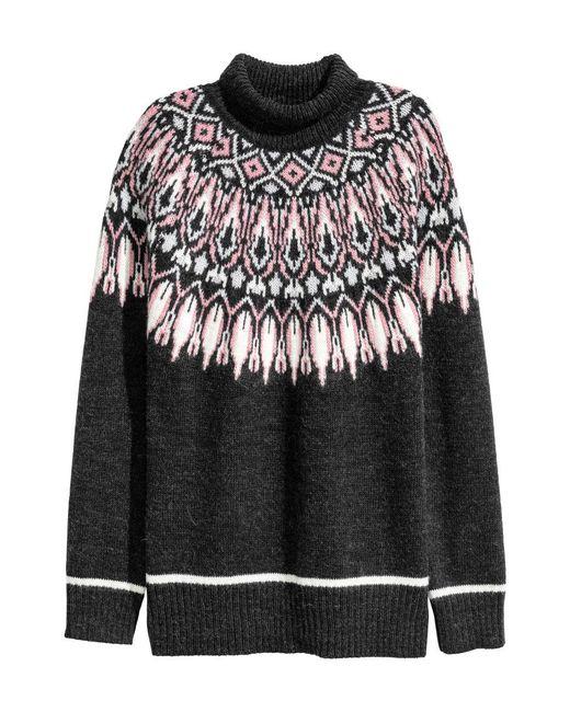 H&M   Black Jacquard-knit Polo-neck Jumper   Lyst