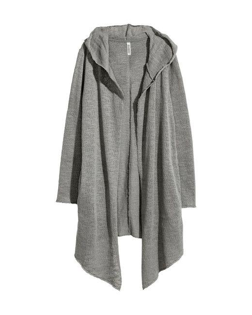 H&M   Gray Hooded Cardigan   Lyst