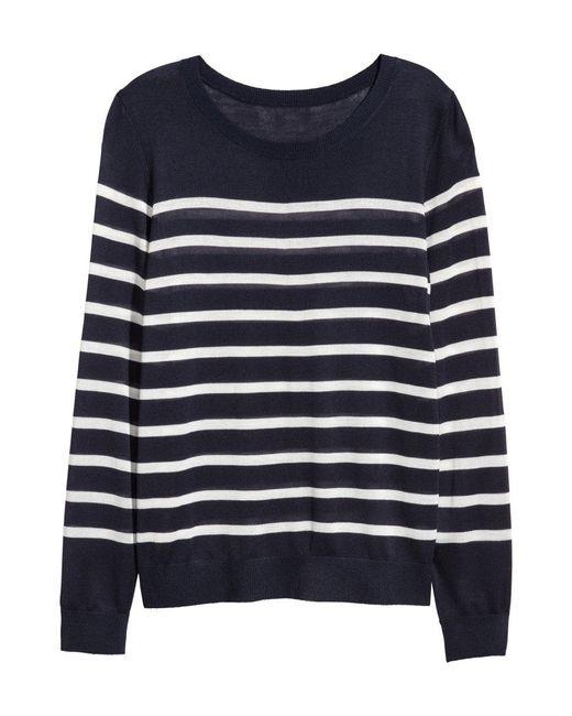 H&M | Blue Fine-knit Jumper | Lyst