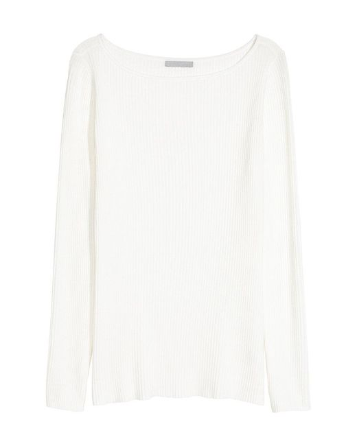 H&M | White Fitted Jumper | Lyst