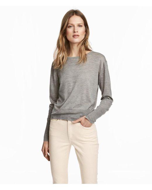 H&M   Gray Cashmere-blend Jumper   Lyst