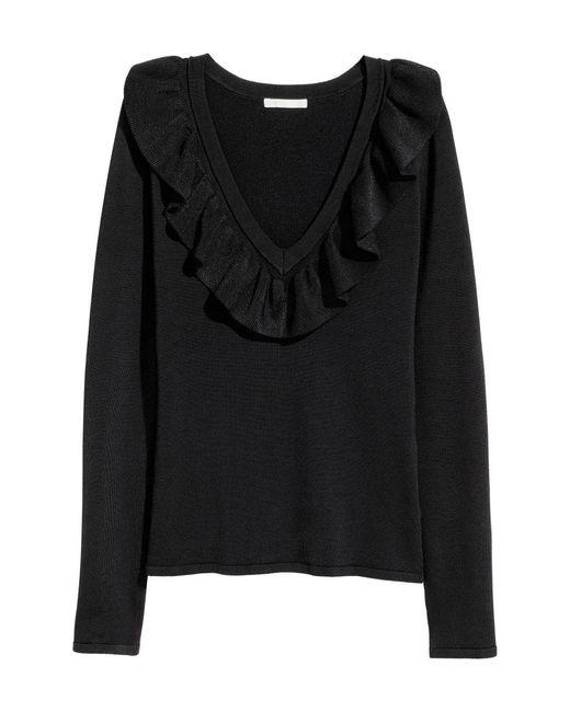 H&M | Black V-neck Jumper | Lyst