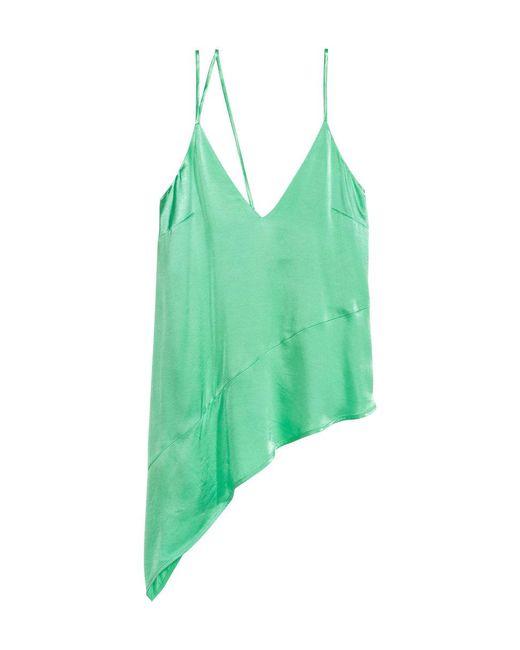 H&M - Green Asymmetric Satin Top - Lyst