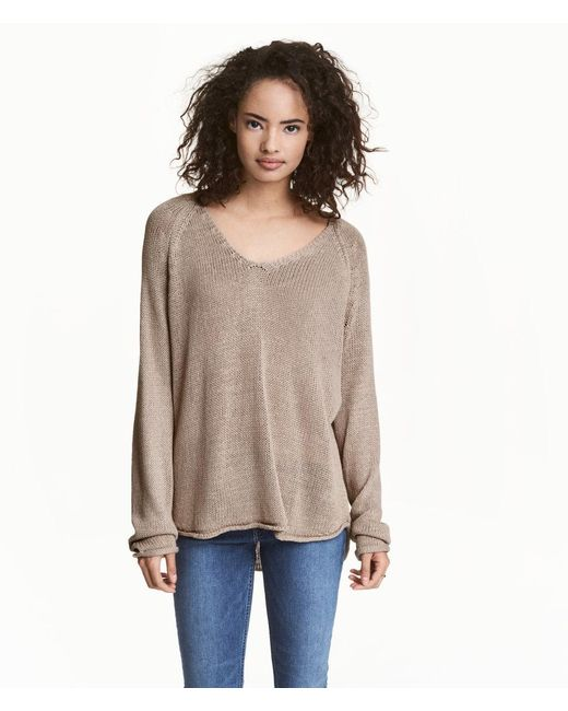 H&M | Brown Knitted Jumper | Lyst