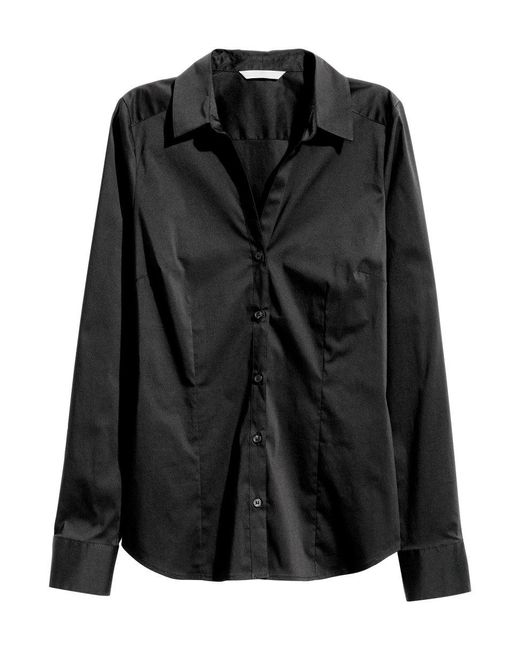 H&M | Black Stretch Shirt | Lyst