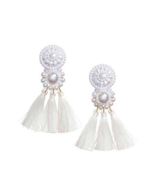 H&M | White Earrings With Tassels | Lyst