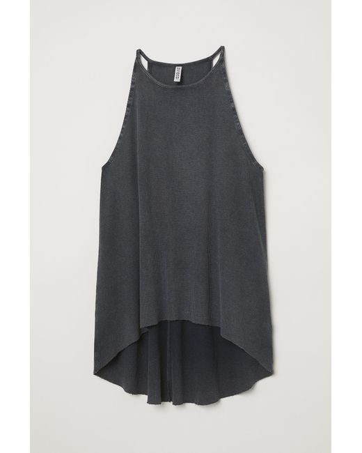 0fa3647454126 H M Ribbed Jersey Vest Top in Gray - Lyst