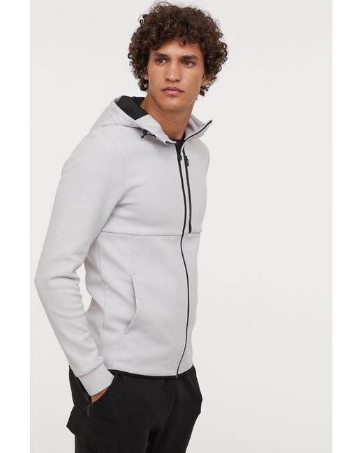 Lyst H M Hooded Sports Shirt In Gray For Men