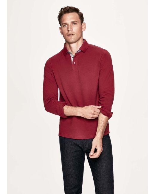 fc6e9f2c Hackett - Red Woven Trim Cotton-blend Long-sleeved Polo Shirt for Men ...