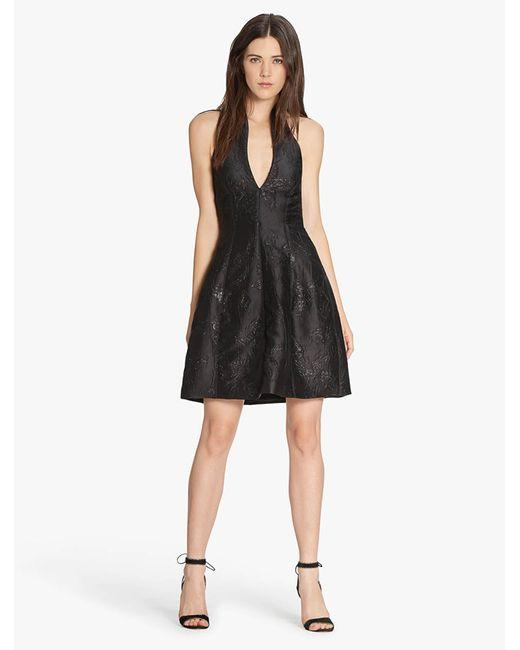 Halston Heritage | Black Lurex Floral Jacquard Dress | Lyst