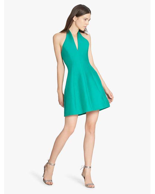 Halston Heritage | Green Organic Notch Silk Faille Dress | Lyst