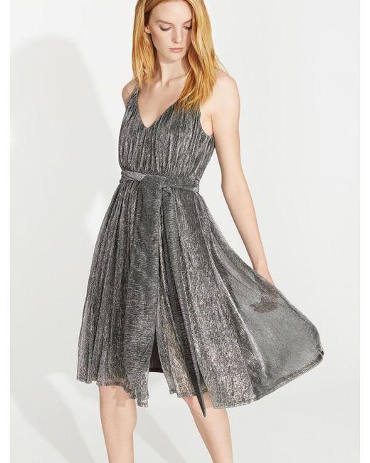 Halston Heritage - Gray Lurex Jersey Dress With Sash - Lyst
