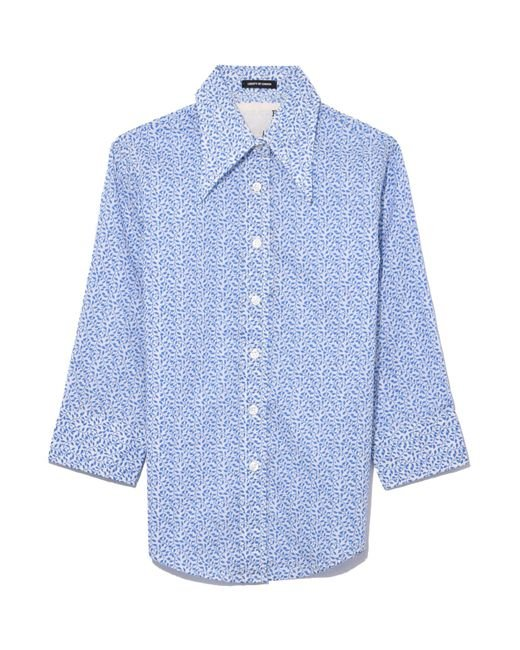 R13 - Exaggerated Collar Shirt In Blue Pattern - Lyst