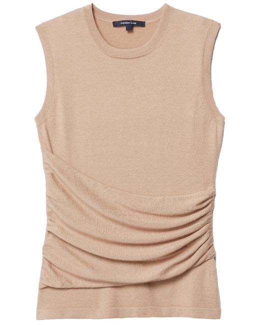 Derek Lam - Natural Sleeveless Gathered Top With Side Detail In Camel - Lyst