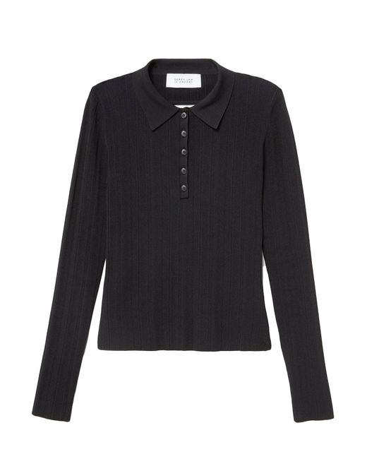 10 Crosby Derek Lam - Long Sleeve Polo With Back Band Detail In Black for Men - Lyst
